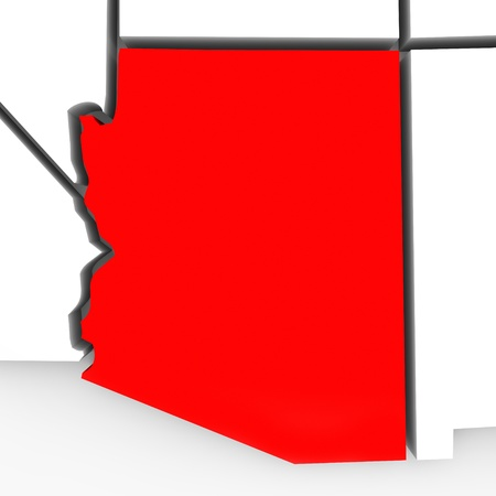 southwest: A red abstract state map of Arizona, a 3D render symbolizing targeting the state to find its outlines and borders Stock Photo