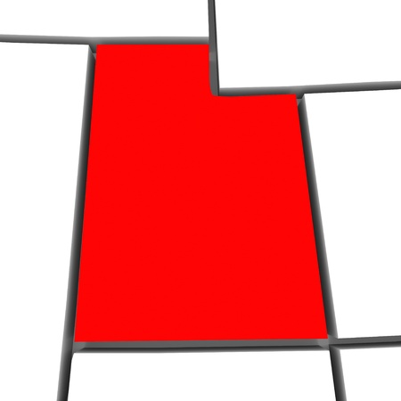 boundaries: A red abstract state map of Utah a 3D render symbolizing targeting the state to find its outlines and borders