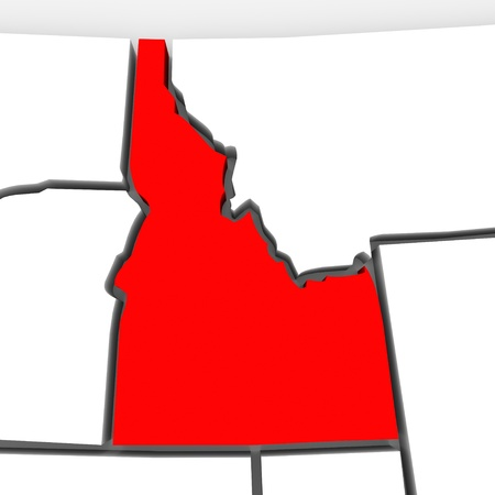 northwestern: A red abstract state map of Idaho, a 3D render symbolizing targeting the state to find its outlines and borders