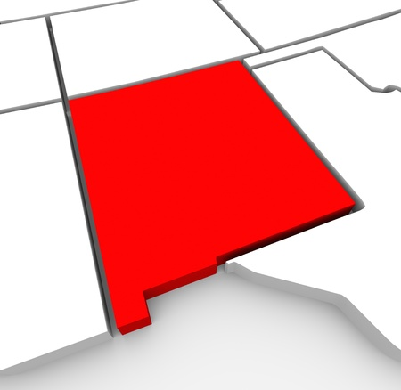 nm: A red abstract state map of New Mexico, a 3D render symbolizing targeting the state to find its outlines and borders