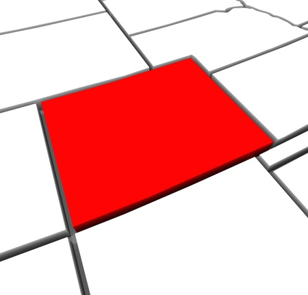 boundaries: A red abstract state map of Colorado, a 3D render symbolizing targeting the state to find its outlines and borders