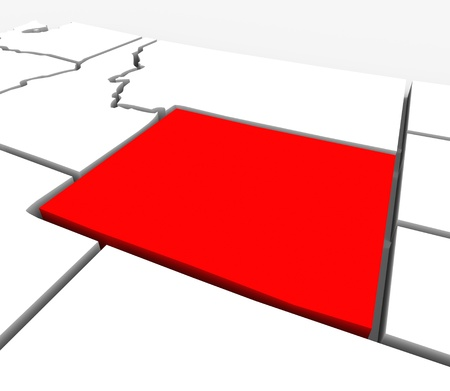 boundaries: A red abstract state map of Wyoming, a 3D render symbolizing targeting the state to find its outlines and borders