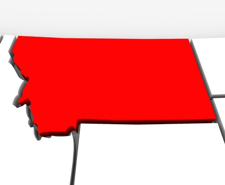 northwestern: A red abstract state map of Montana, a 3D render symbolizing targeting the state to find its outlines and borders Stock Photo