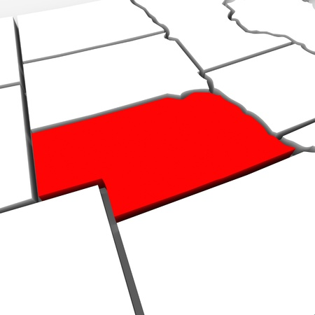 geography: A red abstract state map of Nebraska, a 3D render symbolizing targeting the state to find its outlines and borders Stock Photo