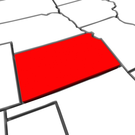 plains: A red abstract state map of Kansas a 3D render symbolizing targeting the state to find its outlines and borders