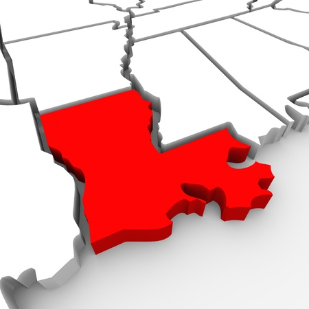 render: A red abstract state map of Louisiana, a 3D render symbolizing targeting the state to find its outlines and borders