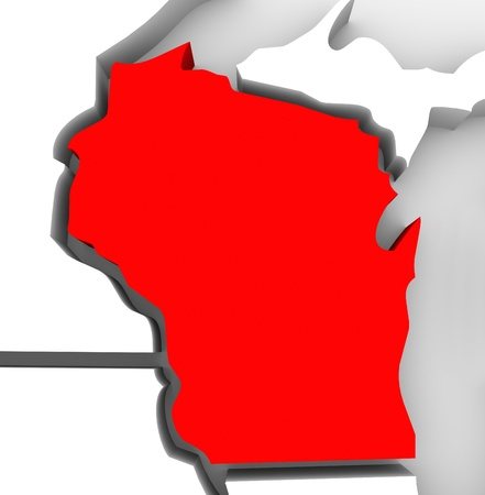 state of wisconsin: A red abstract state map of Wisconsin, a 3D render symbolizing targeting the state to find its outlines and borders Stock Photo