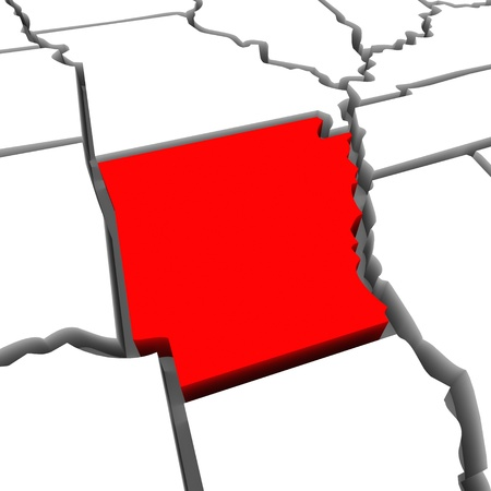 ar: A red abstract state map of Arkansas, a 3D render symbolizing targeting the state to find its outlines and borders