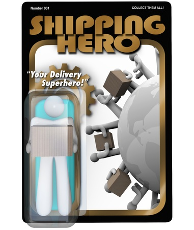 The Shipping Hero action figure delivery man shipper and receiving package Stock Photo - 16151093