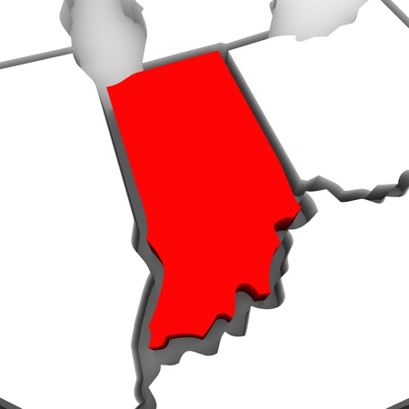 midwest: A red abstract state map of Indiana, a 3D render symbolizing targeting the state to find its outlines and borders