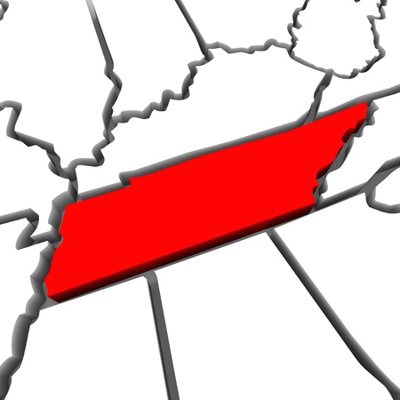render: A red abstract state map of Tennessee a 3D render symbolizing targeting the state to find its outlines and borders