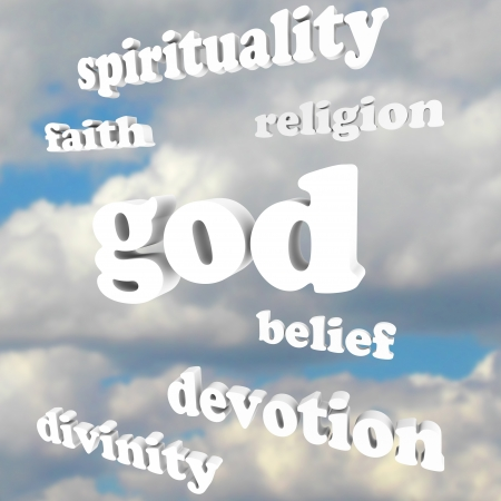 theology: The word God and related words such as spirituality, faith, religion, divinity, devotion and belief floating in a cloudy blue sky to symbolize believing in heavenly and other religious pursuits