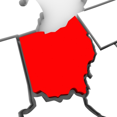 geography: A red abstract state map of Ohio, a 3D render symbolizing targeting the state to find its outlines and borders