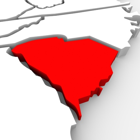 targeting: A red abstract state map of South Carolina, a 3D render symbolizing targeting the state to find its outlines and borders Stock Photo