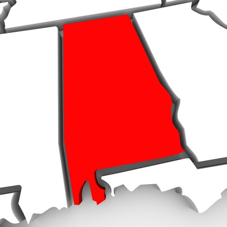 geography: A red abstract state map of Alabama, a 3D render symbolizing targeting the state to find its outlines and borders Stock Photo