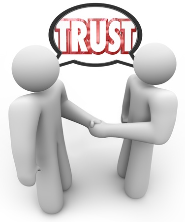persuade: Two people shaking hands and talking with a speech bubble over their head with the word Trust, representing persuasion, credibility, belief and negotiation
