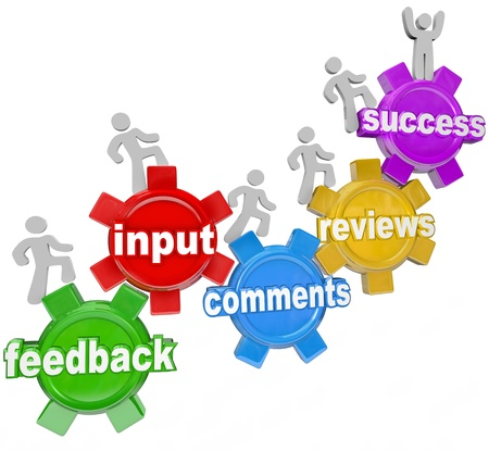 improve: People marching on gears with the words feedback, input, comments, reviews leading to the top gear with the word Success