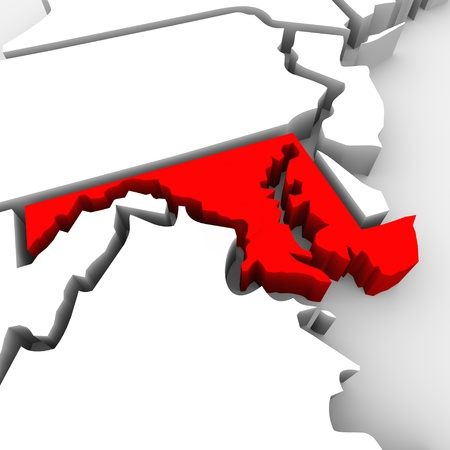 targeting: A red abstract state map of Maryland, a 3D render symbolizing targeting the state to find its outlines and borders