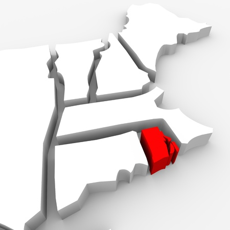 state boundary: A red abstract state map of Rhode Island, a 3D render symbolizing targeting the state to find its outlines and borders