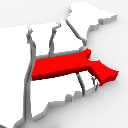 northeast: A red abstract state map of Massachusetts, a 3D render symbolizing targeting the state to find its outlines and borders Stock Photo
