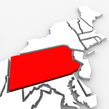 northeast: A red abstract state map of Pennsylvania, a 3D render symbolizing targeting the state to find its outlines and borders