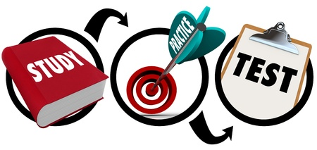 A diagram or workflow chart showing three core principles or steps of education and learning - study word on textbook, practice on an arrow in target bullseye, and test on clipboard Stock Photo - 16261438