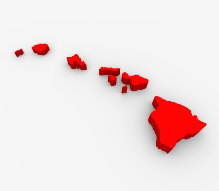 hawaii islands: A red abstract state map of Hawaii, a 3D render symbolizing targeting the state to find its outlines and borders Stock Photo