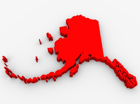 northwestern: A red abstract state map of Alaska, a 3D render symbolizing targeting the state to find its outlines and borders