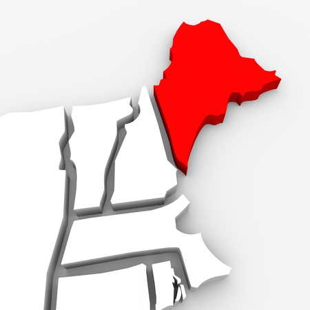 render: A red abstract state map of Maine, a 3D render symbolizing targeting the state to find its outlines and borders Stock Photo