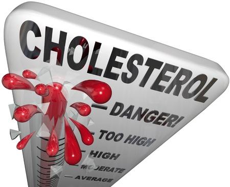 altas: Un termómetro para medir el nivel de colesterol en su sangre para dar un indicador de su riesgo de enfermedad del corazón o un derrame cerebral Foto de archivo