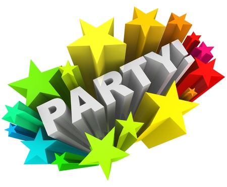 invited: The word Party surrounded by a starburst of colorful stars and fireworks to mark a special occasion or fun event you are invited to attend