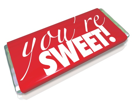 bar one: The sentiment Youre Sweet printed on a red candy bar wrapper as a gift to a loved one or significant other to show how much you care