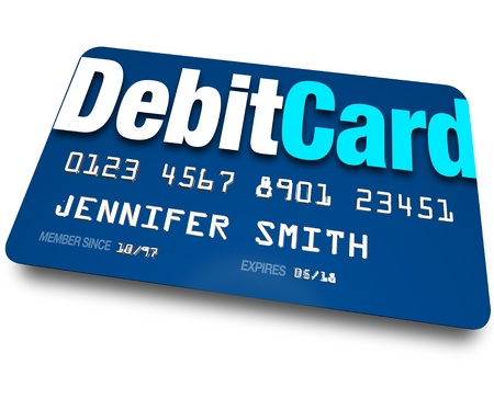 A blue Debit Card to present at a store when purchasing merchandise and have the merchant withdraw money from your bank account Stock Photo - 16356783