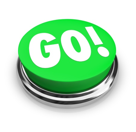 The word Go on a big round green button to represent starting, commencing or beginning an action Stock Photo - 16356803