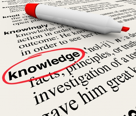 The word Knowledge circled in a dicitonary with its definition of great intelligence and understanding through learning and education Stock Photo - 16356817