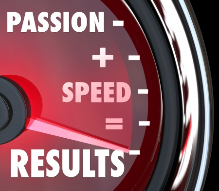 zeal: A red speedometer with the saving Passion plus Speed equals Results in words to symbolize achieving a goal with an ambitious attitude and driven mission Stock Photo