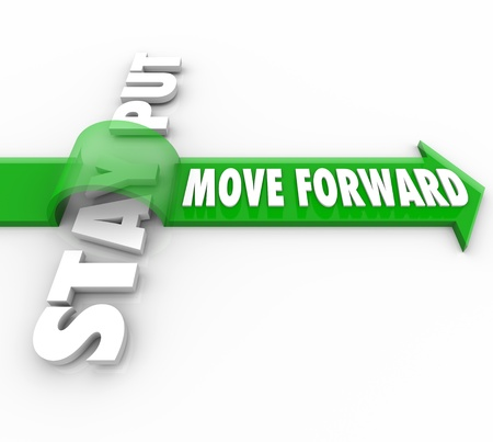 The words Move Forward riding an arrow over Stay Put to symbolize the victory of progressive action over inertia and inanction in being persistent in making progress in reaching a goal or mission Stock Photo - 16452455