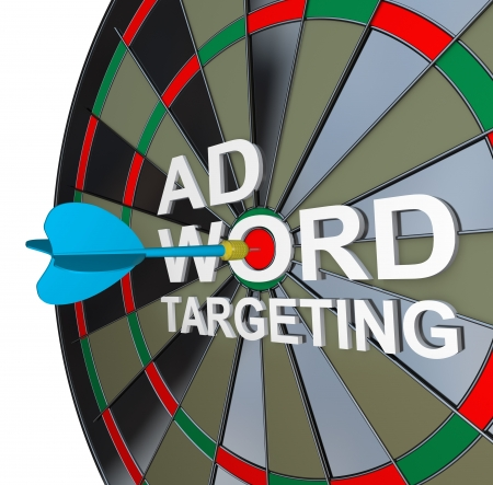 ppc: The words Ad Targeting with a dart in the middle of Word to symbolize online pay-per-click also known as ppc advertising in search engines to drive clicks and traffic to your website