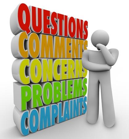 Un uomo di pensiero o persona pensa accanto alle domande parole, commenti, dubbi, problemi e reclami per simboleggiare servizio clienti o problemi di supporto