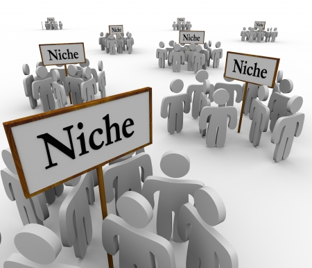 a faction: Several groups of people in niche markets gathered around signs gathering them into niches Stock Photo