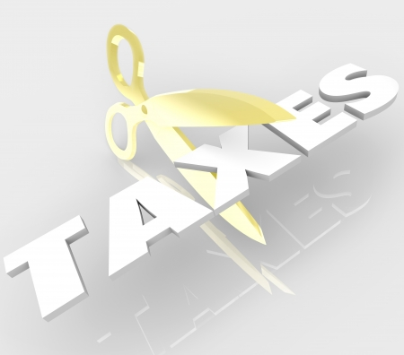 A pair of gold scissors cut the word Taxes to symbolize tax breaks, loopholes and deductions to avoid paying high taxation Stock Photo - 16587588