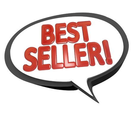 bestseller: The words Best Seller in red letters inside a speech bubble cloud to give a review or testimonial on the high sales of a product or item