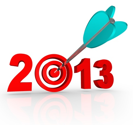 active arrow: The year 2013 with an arrow in a bullseye target inside the number to symbolize targeted goals for the new year
