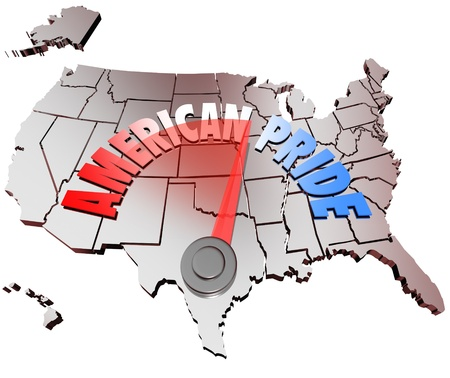 The words American Pride on a map of the United States of America to represent growing patriotrism and proud emotion for the USA nation Stock Photo - 16683447