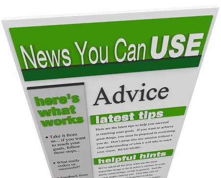 article: An enewsletter of advice, tips hints and helpful information sent to your email inbox Stock Photo