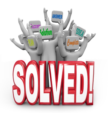 answered: A team of cheering people with the words Answer, Solution, Success, Plan, Complete and Idea behind the large word Solved Stock Photo