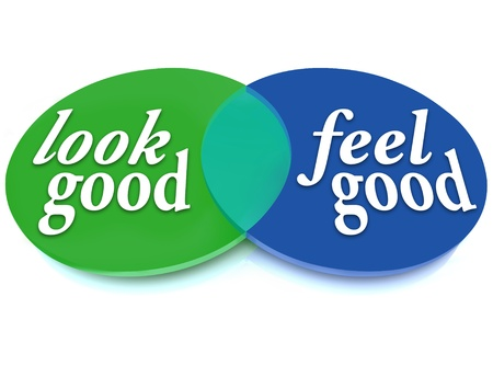 by feel: A Venn diagram of overlapping circles with the words Look Good and Feel Good Stock Photo