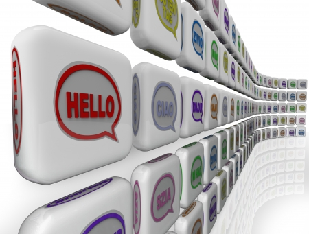 ciao: The word Hello in different languages on a wall of greeting and friendly welcomes