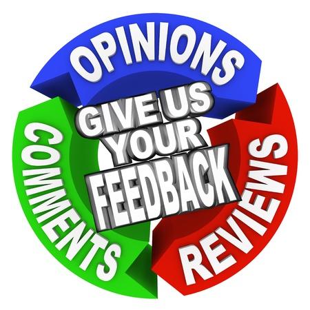顧客からのフィードバックのための意見、コメントとレビューを 3 つの矢印上の単語を与える私たちあなたのフィードバック