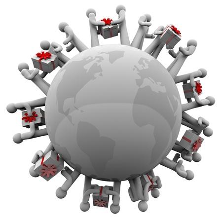 coordinacion: Mucha gente la mano de cada cajas de regalo de todo el mundo que simboliza la filantrop�a, el intercambio y el desinter�s, durante la Navidad, los cumplea�os o las vacaciones o otros eventos especiales Foto de archivo